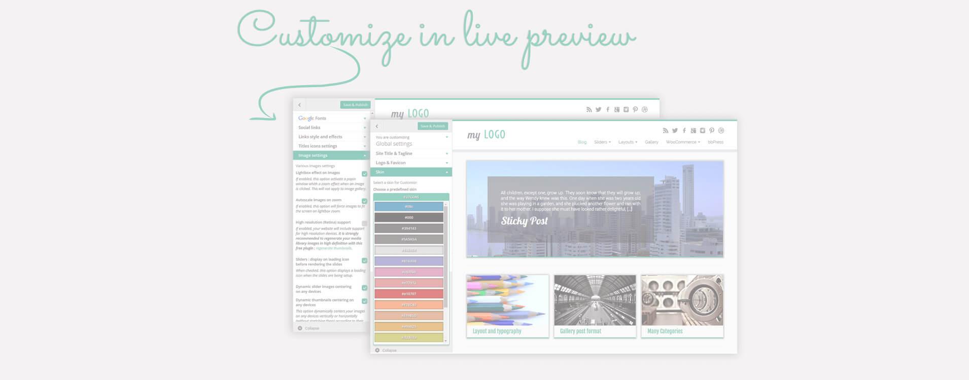 Multe opțiuni de design și aranjare sunt disponibile din ecranul de personalizare al WordPress: vezi modificările pe viu!